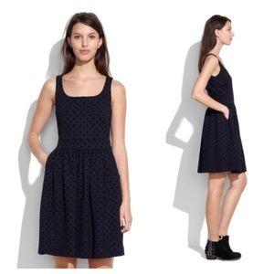 Madewell Black Velvet Polka Dot Mini Dress